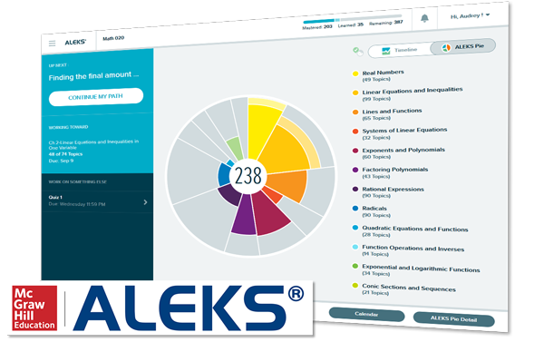 aleks screenshot and logo