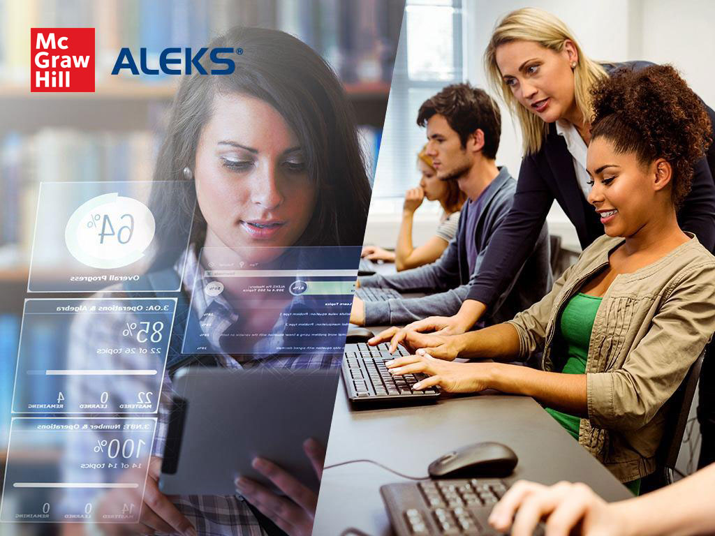 People using technology with ALEKS logo