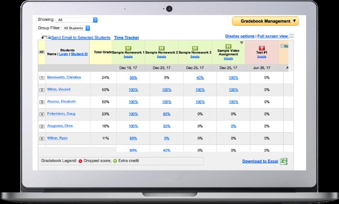 Student Progress Monitoring Screen Shot