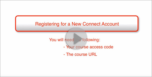 Registering for a new Connect Account (student version)
