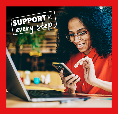 Image of instructor on phone and in front of laptop with Support At Every Step logo.