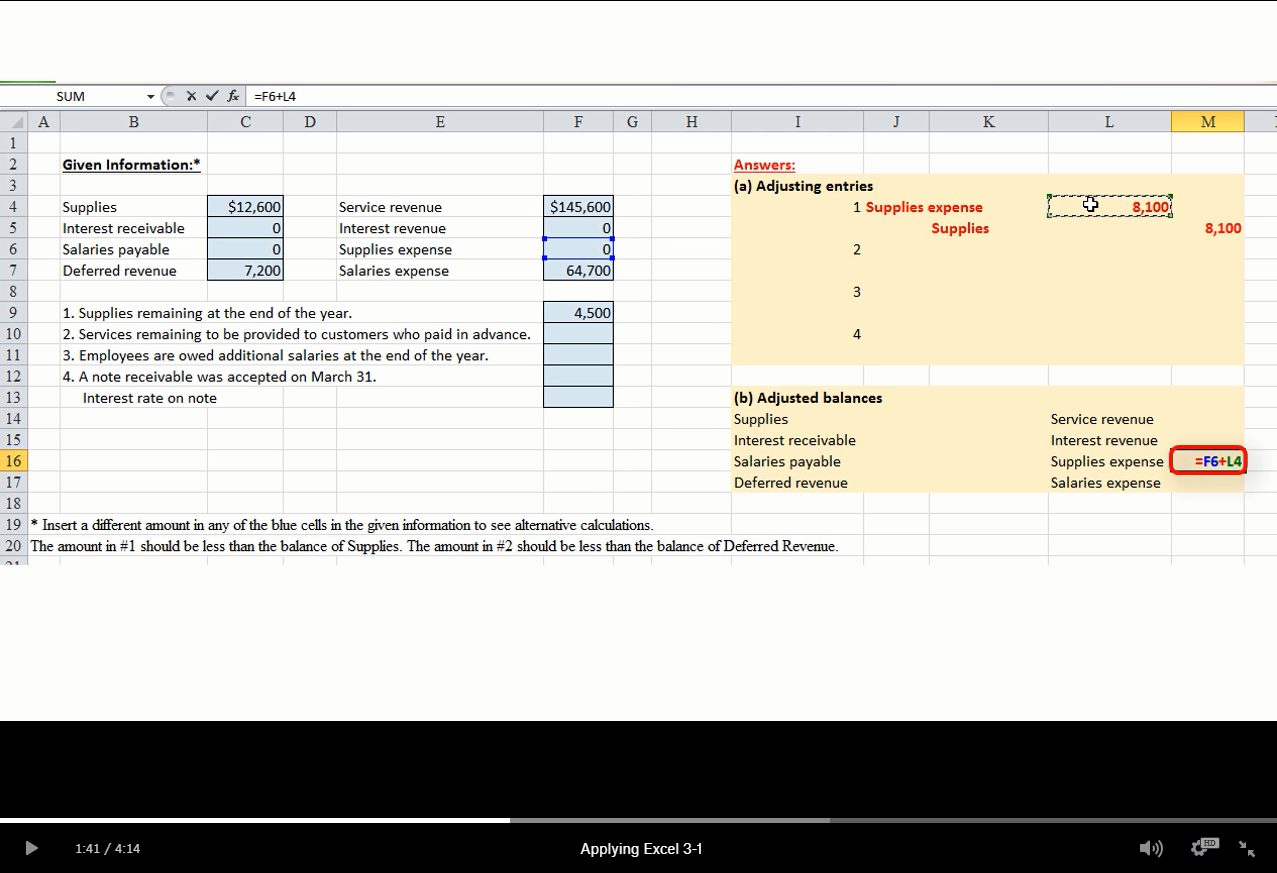 New Applying Excel Assignments