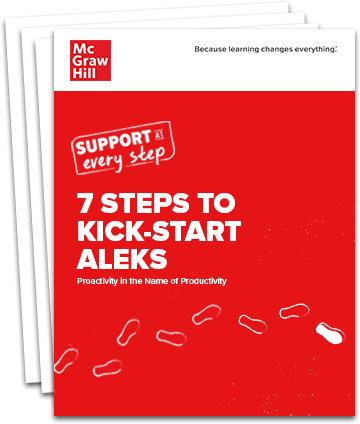 Stack of pages with the title 7 Steps to Kick-Start ALEKS