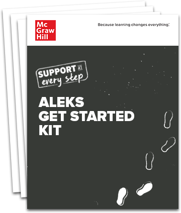 Stack of pages with the title ALEKS Get Started Kit