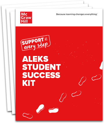 Stack of pages with the title ALEKS Student Success Kit