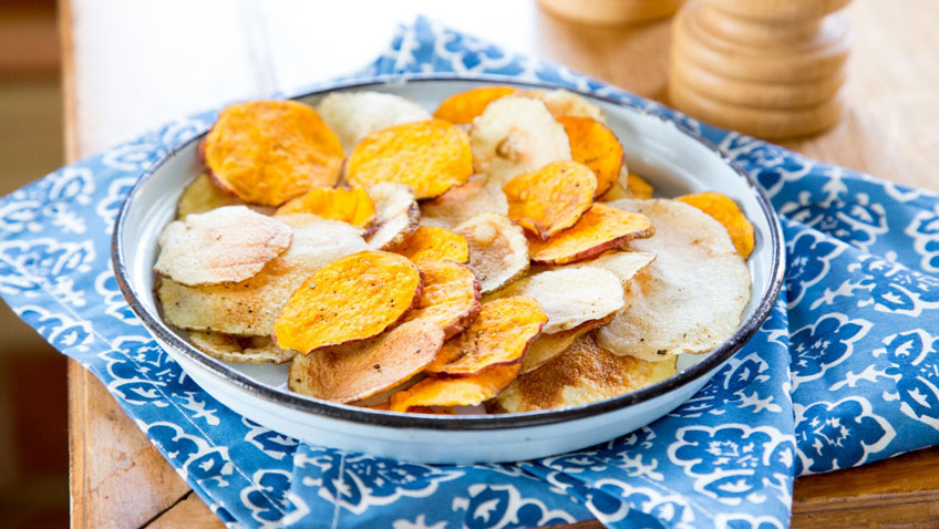 Fresh Potato & Sweet Potato Chips ready to eat