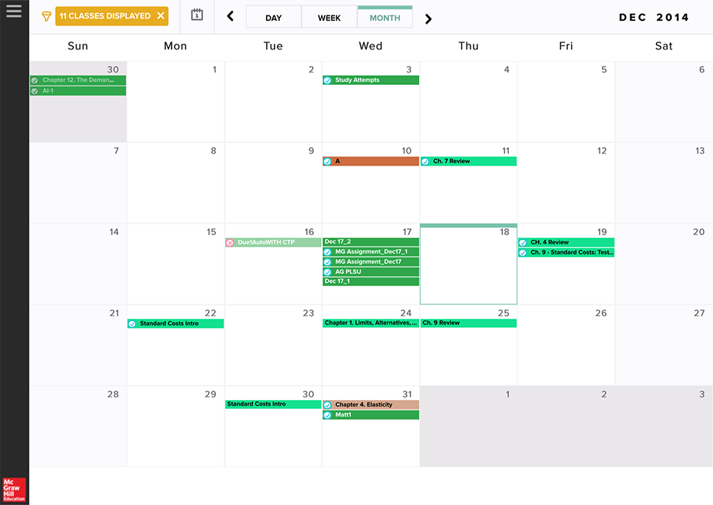 Calendar Monthly View