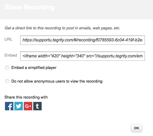 Share Recording screenshot