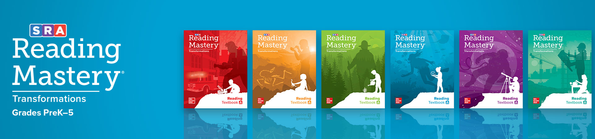 logo and textbook covers for reading mastery transformations reading intervention program