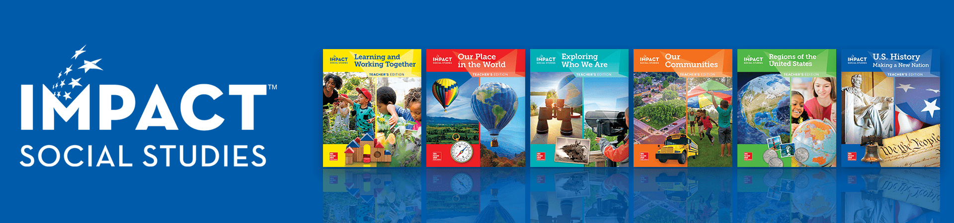 logo and textbook covers for impact elementary social studies curriculum