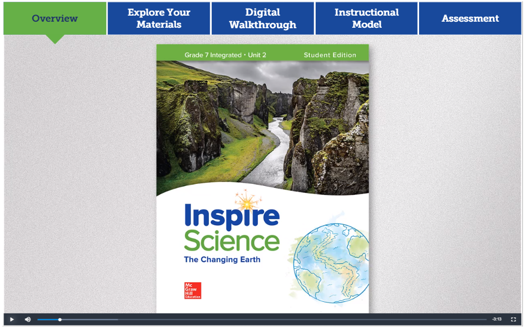 Screenshot from the Inspire Science Grades 6-8 Quick Start Interactive Walkthrough