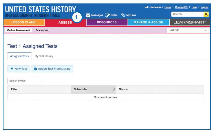 Screenshot of Assess screen