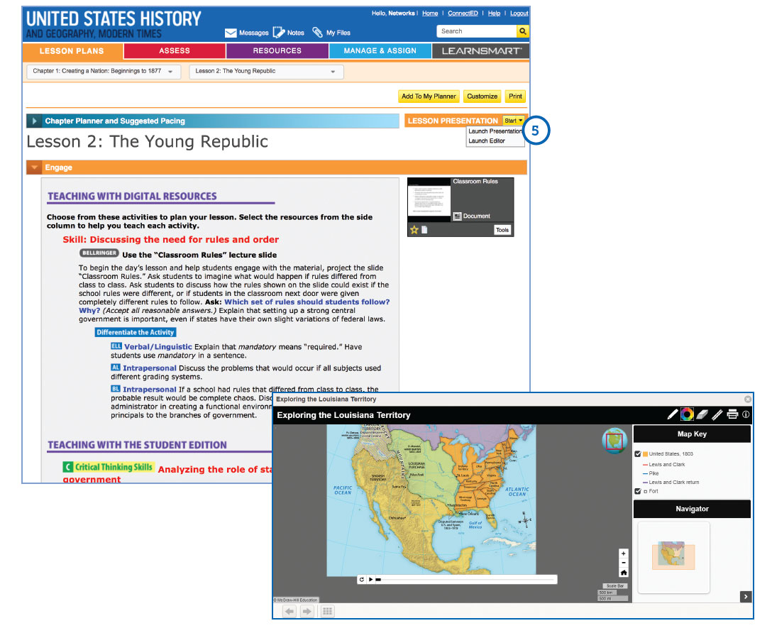 Screenshot of lesson presentations