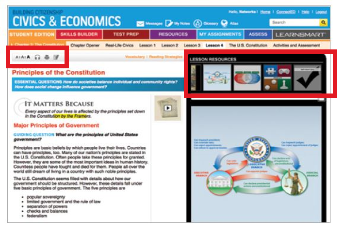 Screenshot of student center shows a carousel of resources and where to access tools for close reading.