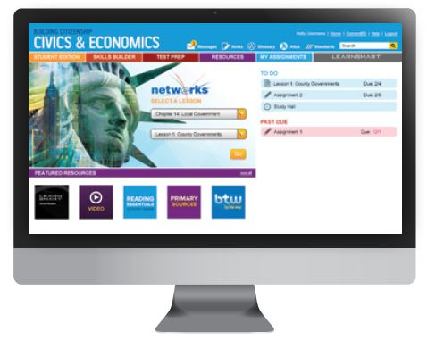 Screenshot of the home screen of the Online Student Center