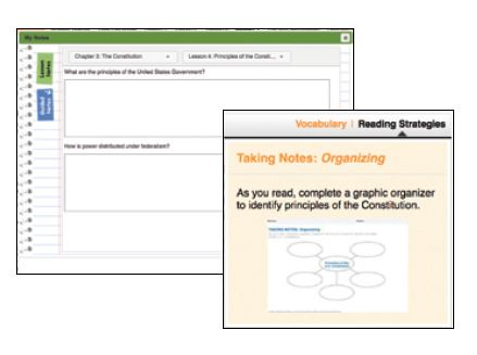 Two screenshots of students center shows a vocabulary pop-up and graphic organizer