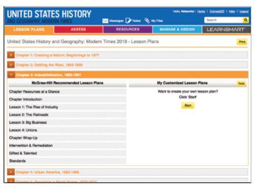 Screenshot of a list of pre-built lesson plans