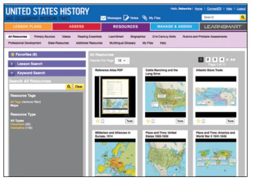 Screenshot of resources available in the resource library