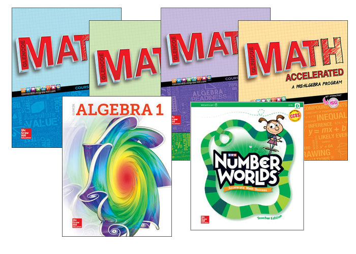 Glencoe Math, Algebra 1 and Number World Covers