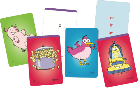 Six examples of sound/spelling cards