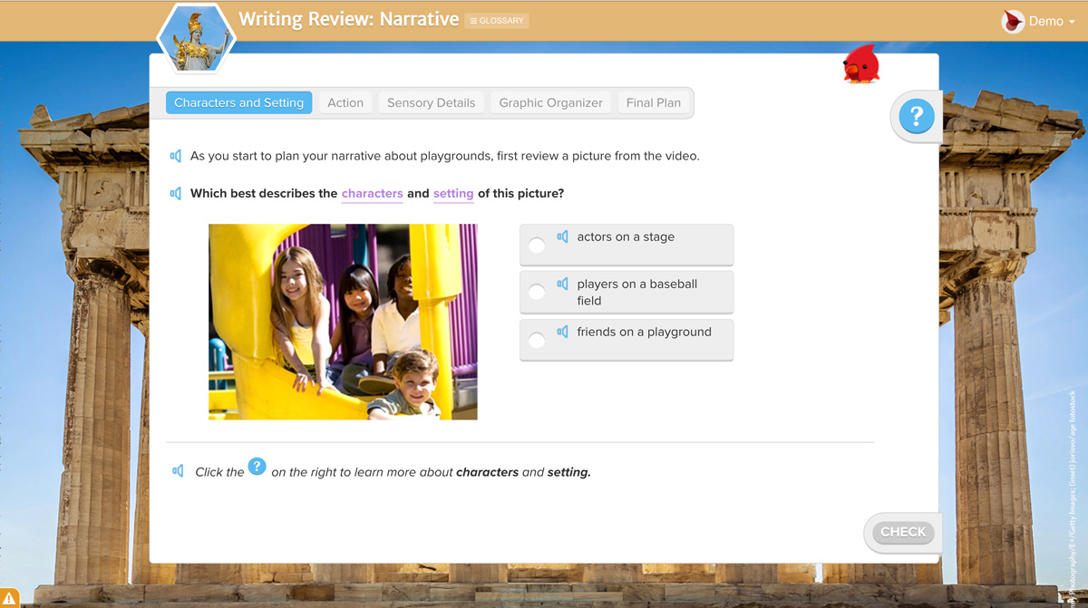 Screenshot of a Writing Review lesson focused on narrative writing. click to enlarge image