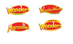 Wonders ELD, WonderWorks, Maravillas, and World of Wonders logos