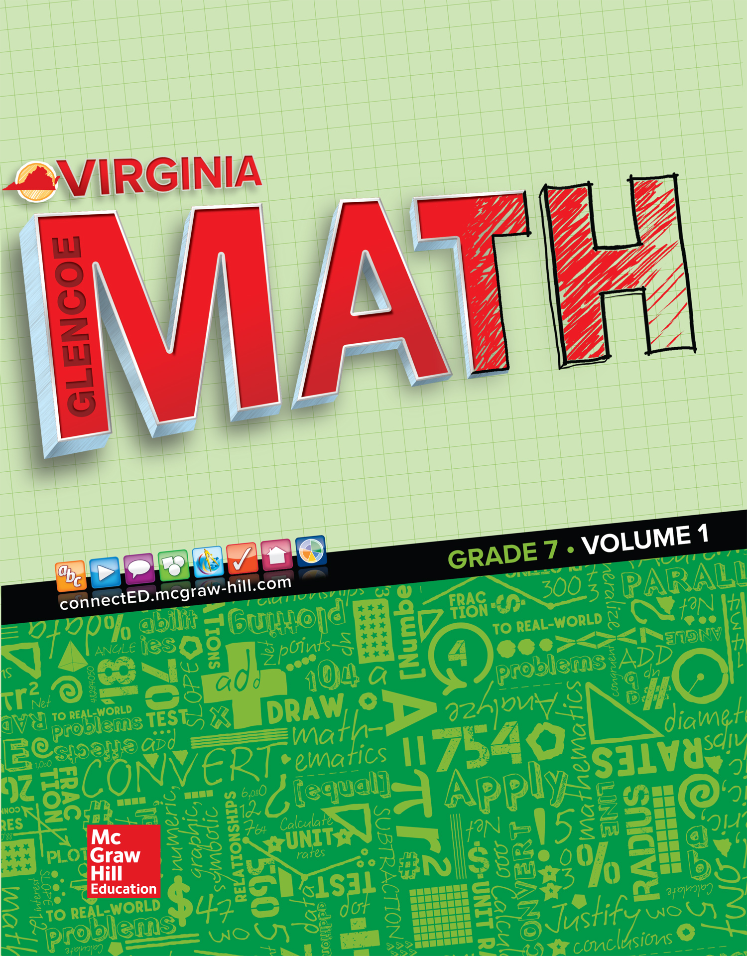 Virginia Glencoe Math Grade 7 cover
