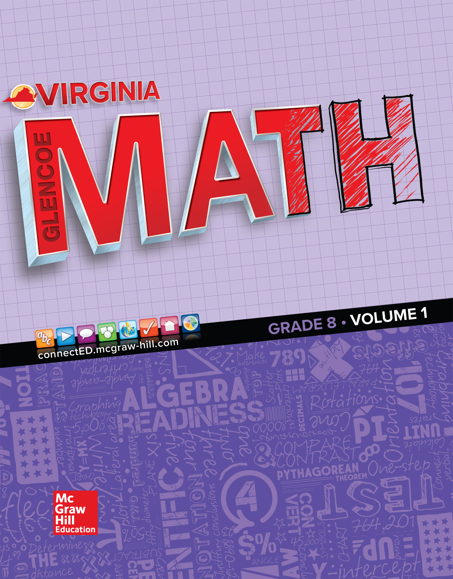 Virginia Glencoe Math Grade 8 cover