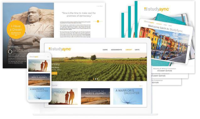 The StudySync ELA curriculum shown in its multiple print and digital formats.