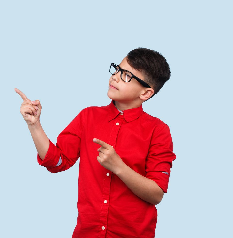 Boy pointing to search bar
