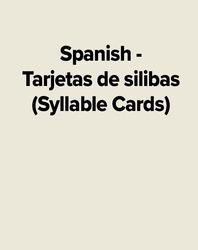 Spanish - Tarjetas de silibas (Syllable Cards)