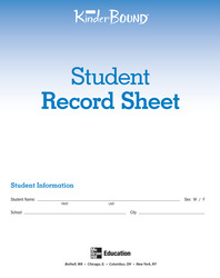 KinderBound PreK-K, Student Record Sheets (pkg. of 50)
