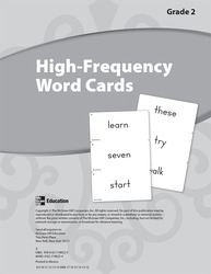 Reading Wonders, Grade 2, High Frequency Word Cards Grade 2