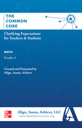 AAA The Common Core: Clarifying Expectations for Teachers and Students. Math, Grade 1