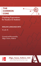 AAA The Common Core: Clarifying Expectations for Teachers and Students. English Language Arts, Kindergarten