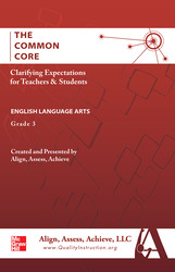 AAA The Common Core: Clarifying Expectations for Teachers and Students. English Language Arts, Grade 3