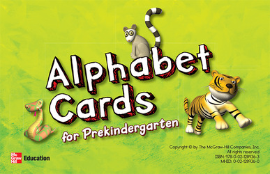 McGraw-Hill My Math, Grade PK, Alphabet Cards