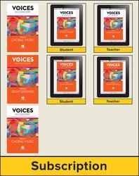 Hal Leonard Voices in Concert, Level 3 Treble Hybrid Bundle, 6 Year