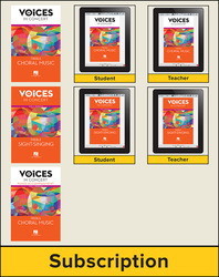 Hal Leonard Voices in Concert, Level 3 Treble Hybrid Bundle, 6 Year