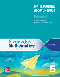 Everyday Mathematics 4th Edition, Grade 5, Math Journal Answers Teacher Book Volume 1