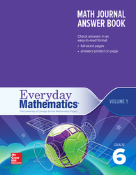 Everyday Mathematics 4th Edition, Grade 6, Math Journal Answers Teacher Book Volume 1