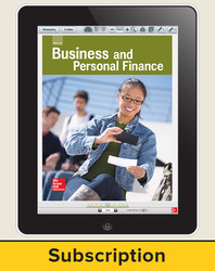 Glencoe Business and Personal Finance, Online Student Edition, 1 year subscription