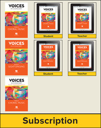 Hal Leonard Voices in Concert, Level 1A Treble Hybrid Bundle, 6 Year