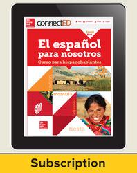 El Español para Nostros Level 1  2014 Online Teacher Edition 1 year subscription