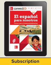 El Español para Nostros Level 1 2014 Online Student Edition 6 year subscription