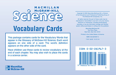 Macmillan/McGraw-Hill Science, Grade 1, Vocabulary Cards