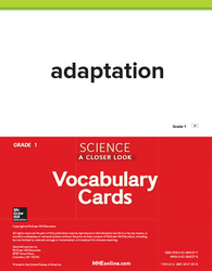 Science, A Closer Look Grade 1, Science Vocabulary Cards