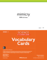Science, A Closer Look, Grade 3, Science Vocabulary Cards