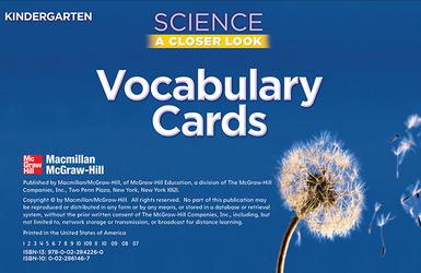Science, A Closer Look, Grade K, Vocabulary Cards