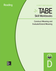 TABE Skill Workbooks Level D: Construct Meaning and Evaluate/Extend Meaning - 10 Pack